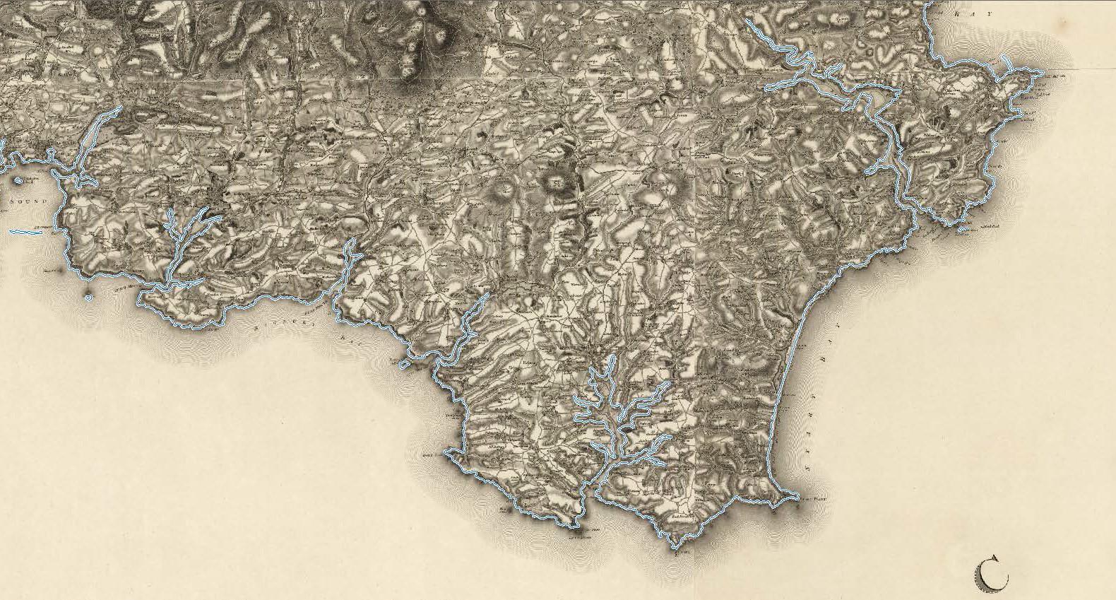 Detail from W. Mudge County of Devon (1809) with modern coastline