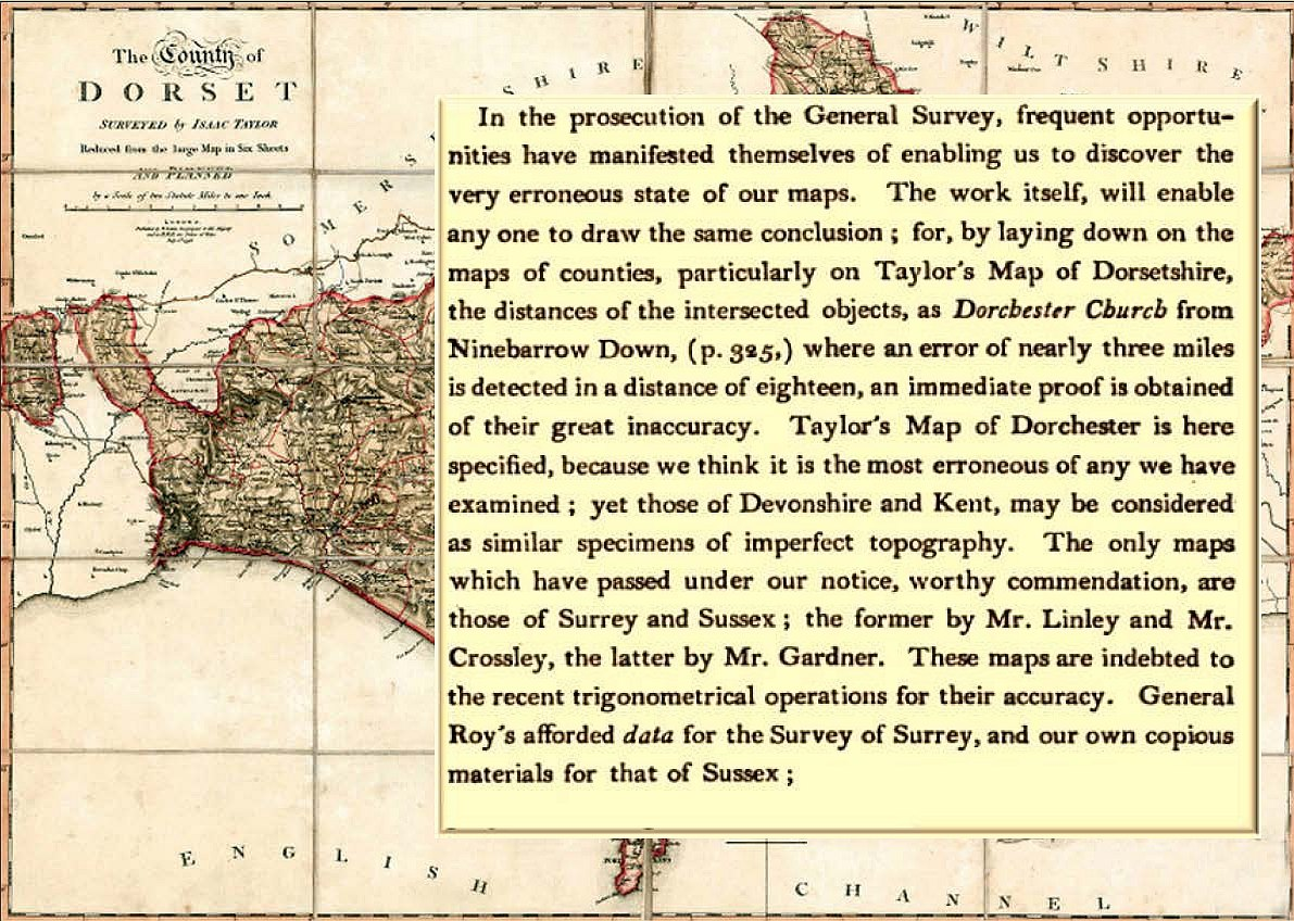 Isaac Taylor's Map of Dorset with comments by Mudge and Dalby (1799)