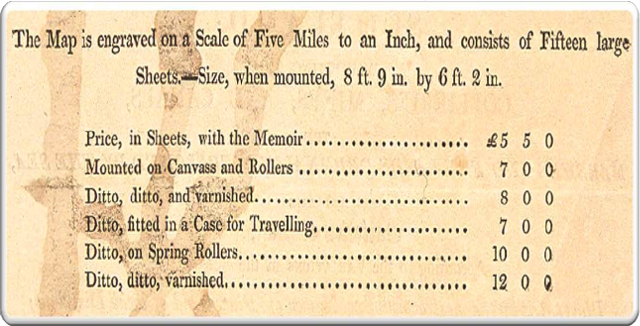 Price list from the prospectus with William Smith's map in 1815 showing the prices of the various formats in which the map was available